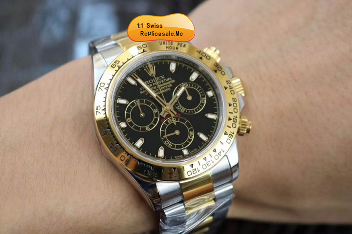 Fake Rolex Daytona 116523 Black Face With 18K Gold 1120T