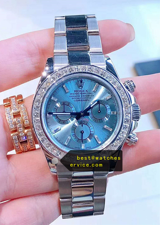 1:1 Fake Rolex Daytona Ice Blue Diamond Bezel Watch