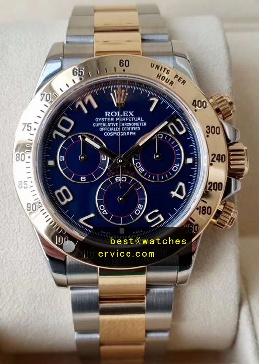 Gold Bezel 904L Steel Dark Blue Replica Rolex Daytona 116503 Watch