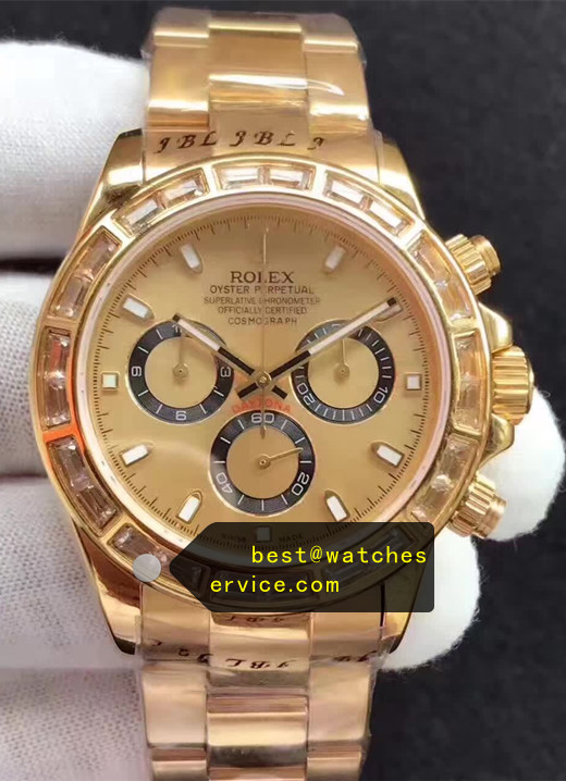 1:1 Gold Large Diamond Bezel Fake Rolex Daytona Watch