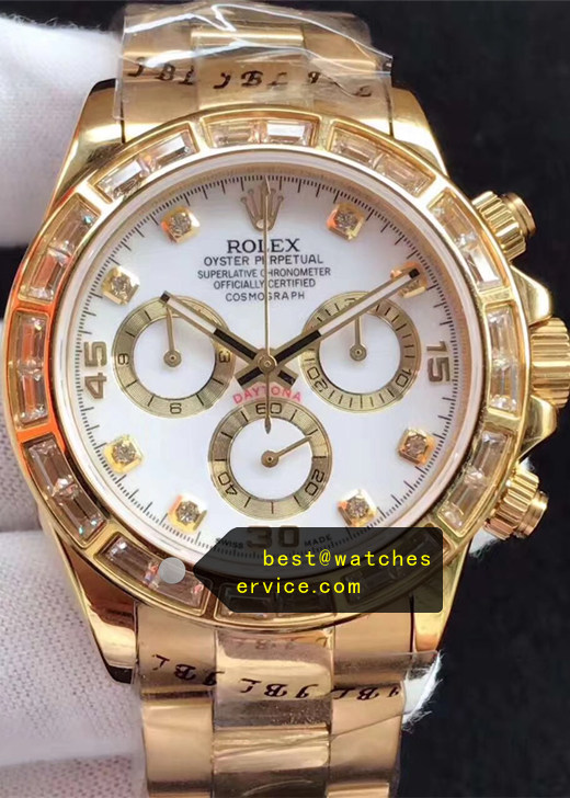 1:1 Gold Large Diamond Bezel Fake Rolex Daytona White Face Watch