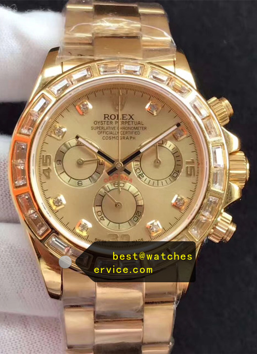 1:1 Gold Large Diamond Bezel Fake Rolex Daytona m116508-0006 Watch