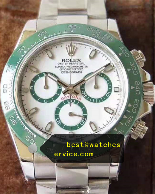 Green Forest Ceramic Fake Rolex Daytona Watch