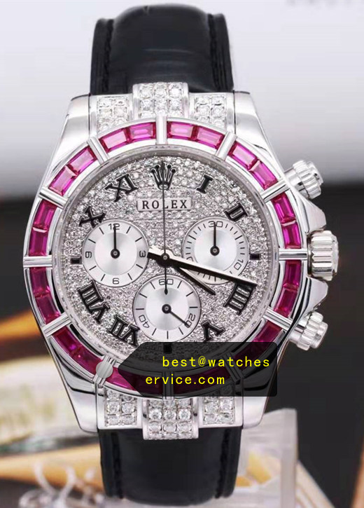 Purple Diamonds Bezel Replica Rolex Daytona Watch