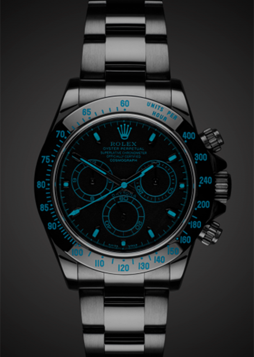 Replica Rolex Daytona Blue Face Black PVD Watch