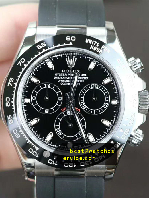 Rubber Strap Fake Rolex Daytona Black Watch