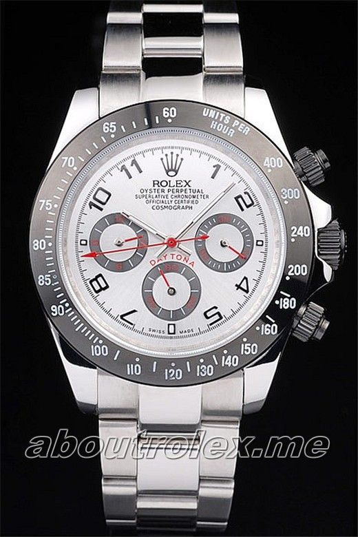 Best Rolex Daytona Replica Stainless Steel Black Enameled Silver Dial