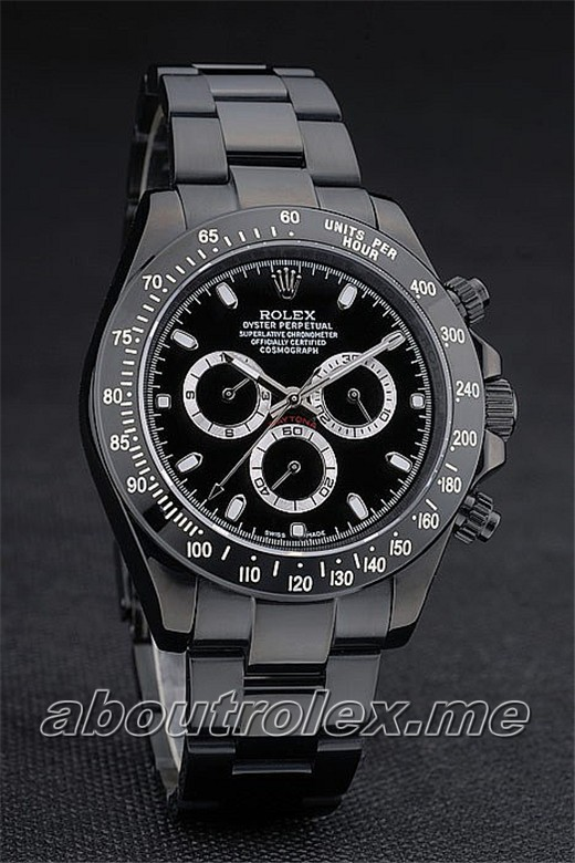 Cheap Rolex Daytona Replica Black Ion Plated Tachymeter Black Stainless Steel 9C
