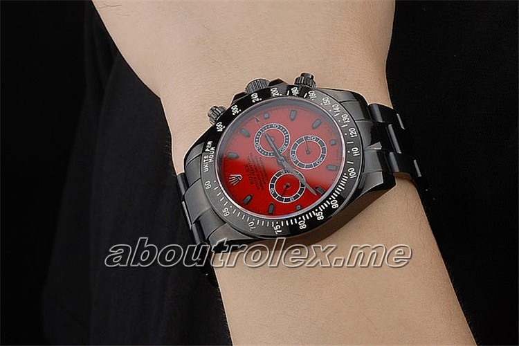 Rolex Daytona Replica Black Ion Plated Tachymeter Black Stainless Steel Strap Red Dial 1148