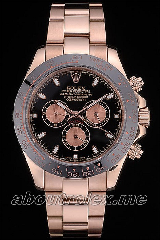 Rolex Daytona Replica Black Ion Plated Tachymeter Rose Gold Strap Black Dial 2Y