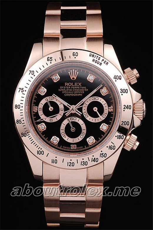 Rolex Daytona Replica Rose GoldPlated Stainless Steel Black Dial