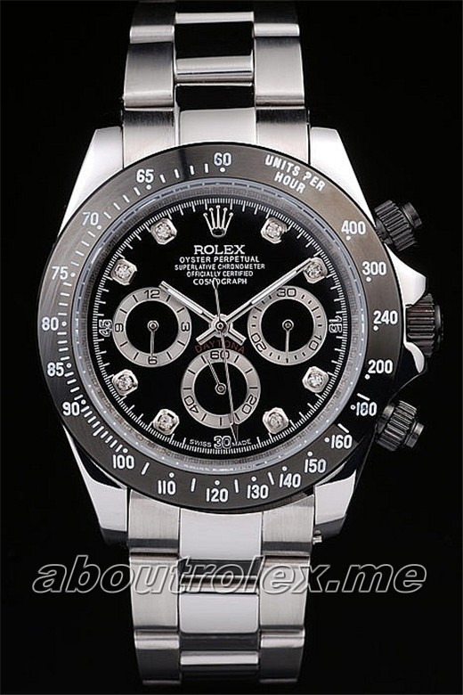 Rolex Daytona Replica Stainless Steel Black Enameled 15H