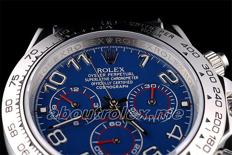 Rolex Daytona Replica Stainless Steel Case Blue Dial Black Leather Strap