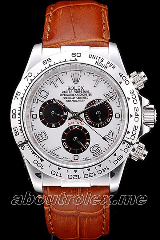 Rolex Daytona Replica Stainless Steel Case White Dial Brown Leather Strap