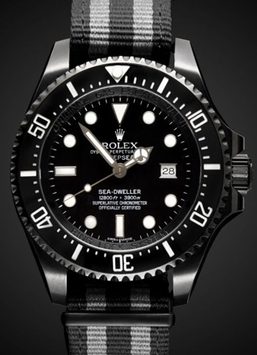 Replica Black PVD Sea Dweller 43MM Black-White-Knit Strap