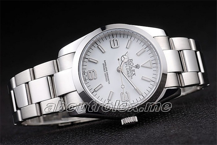Rolex Explorer Replica Polished Stainless Steel White Dial