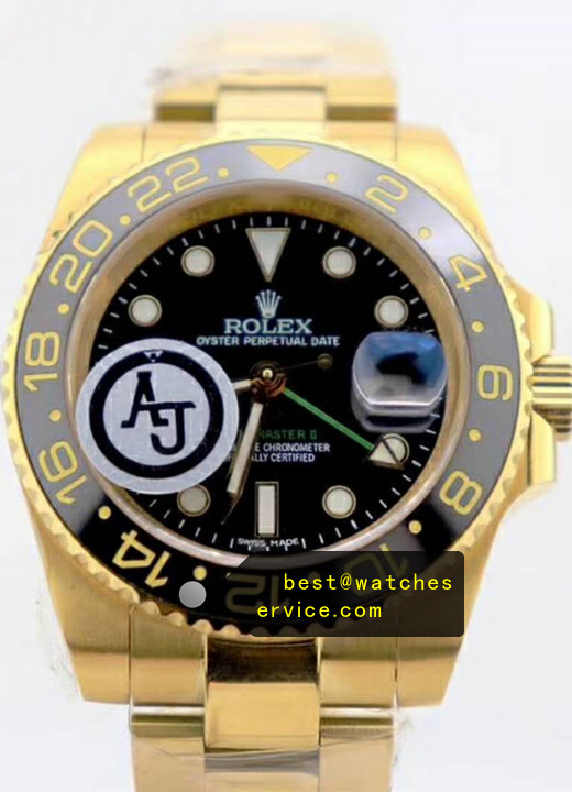 18k-Gold Replica Rolex GMT 116718-LN-78208 Watch