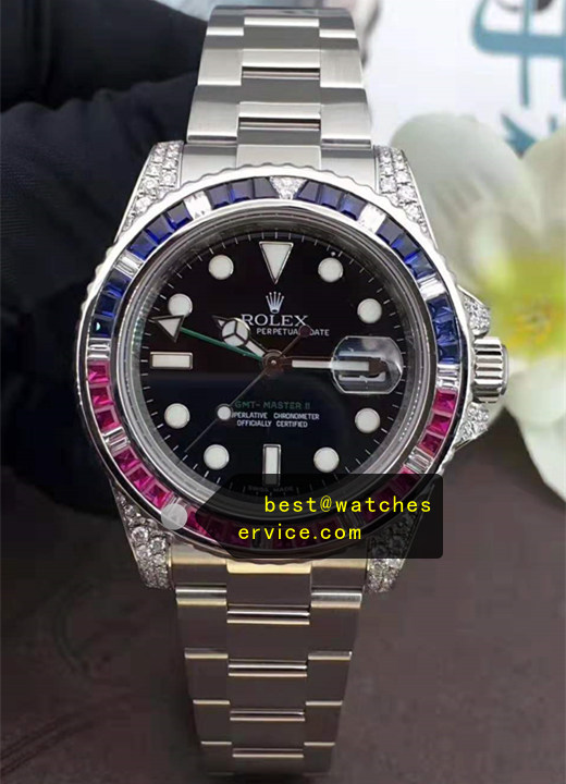 1:1 18k-White-Gold Diamonds Fake Rolex GMT 116759 SAru Watch