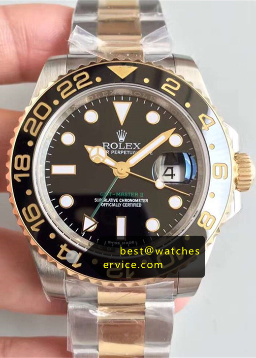 2019 Replica Rolex Gmt-II 116713-LN 18k-Gold Steel Watch
