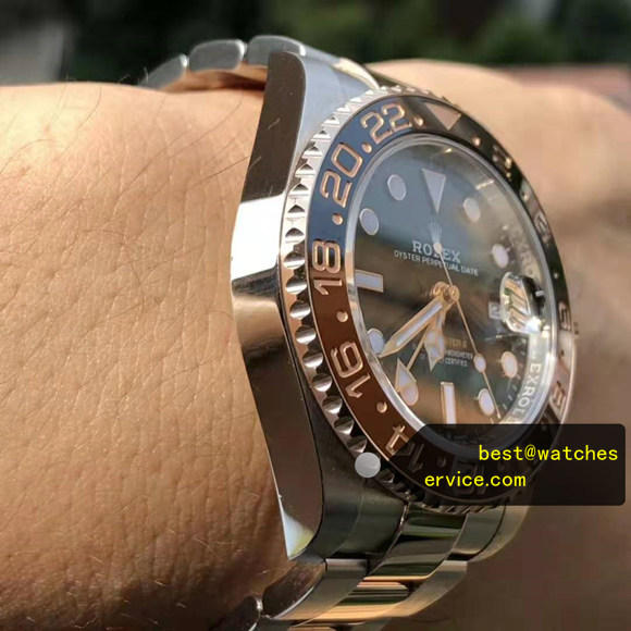1:1 Brown Black Ceramic Bezel Fake Rolex GMT m126711chnr Watch