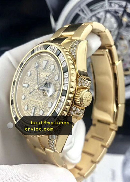 1:1 Fake Rolex Gmt-II 116758SA Gold Dense Diamonds Watch