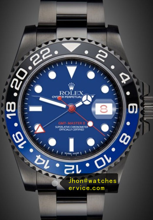 Fake Rolex Gmt-II Blue Face Black PVD Watch