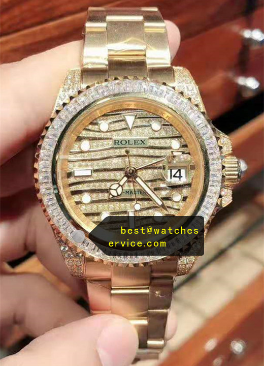 Gold Diamonds Replica Rolex GMT Watch