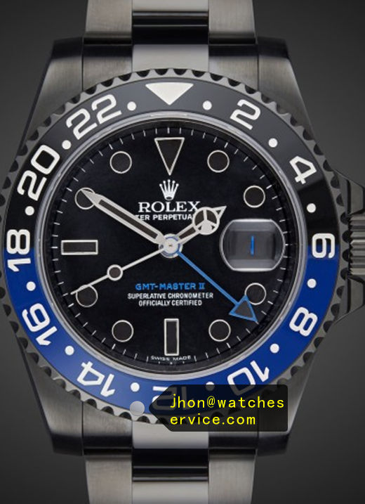 Replica Rolex GMT-Master Blue Bezel Black Watch