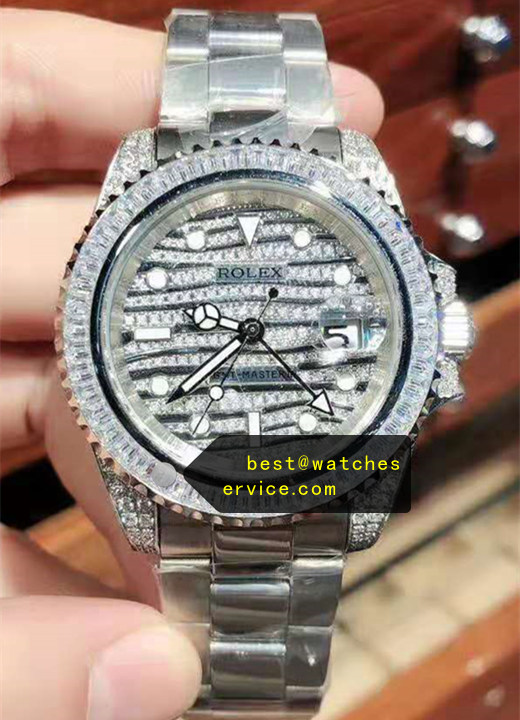 Steel Diamonds Replica Rolex GMT Watch