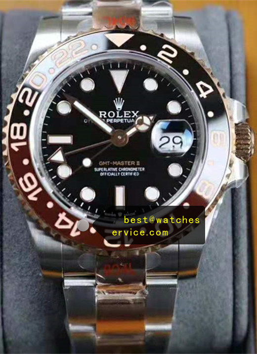 Steel Inlaid Gold Brown With Black Bezel Fake Rolex GMT Watch