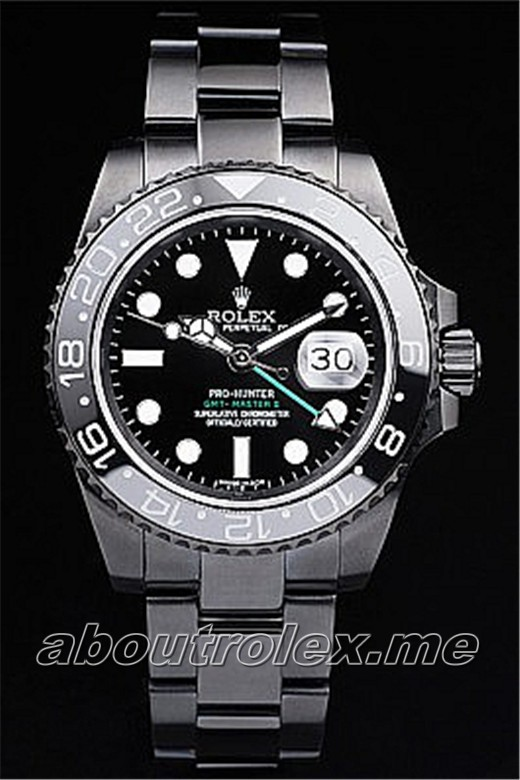 Buy High Quality Rolex GMT Master II Replica Pro-Hunter Black Steel Strap Black Dial