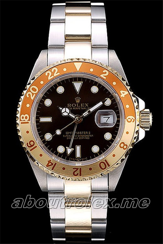Rolex GMT Master II Replica Gold Colored Ceramic Bezel Brown Dial Tachymeter