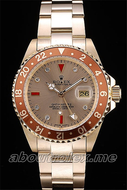 Best Rolex GMT Master II Replica Gold Colored Ceramic Bezel Gold Dial Tachymeter