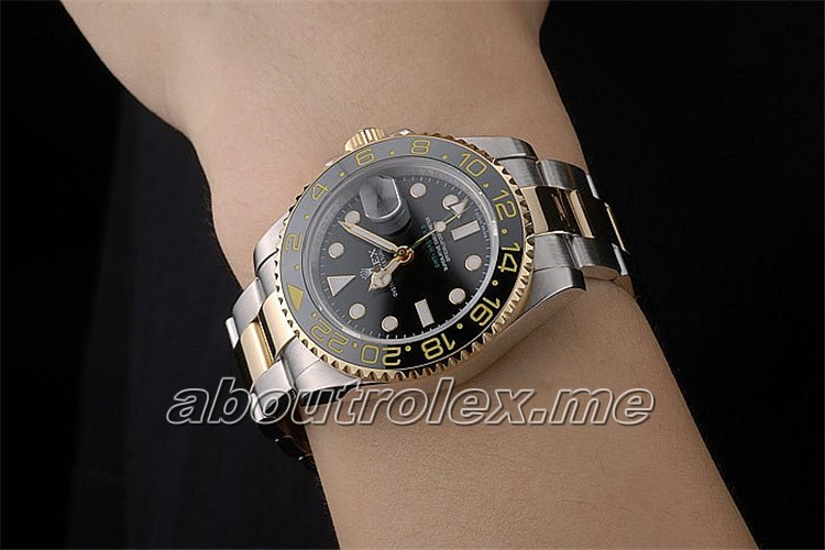 Rolex GMT Master Replica Rose Gold Bezel Black Dial 295