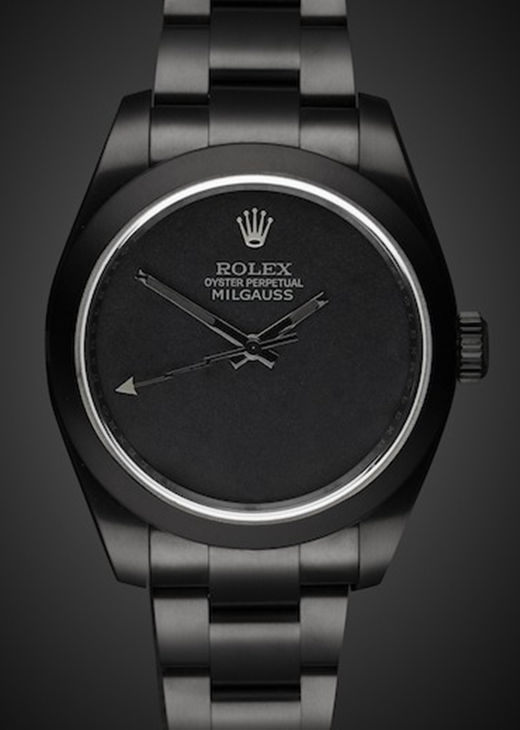 All Black Fake Rolex Milgauss 40MM Pvd Watch