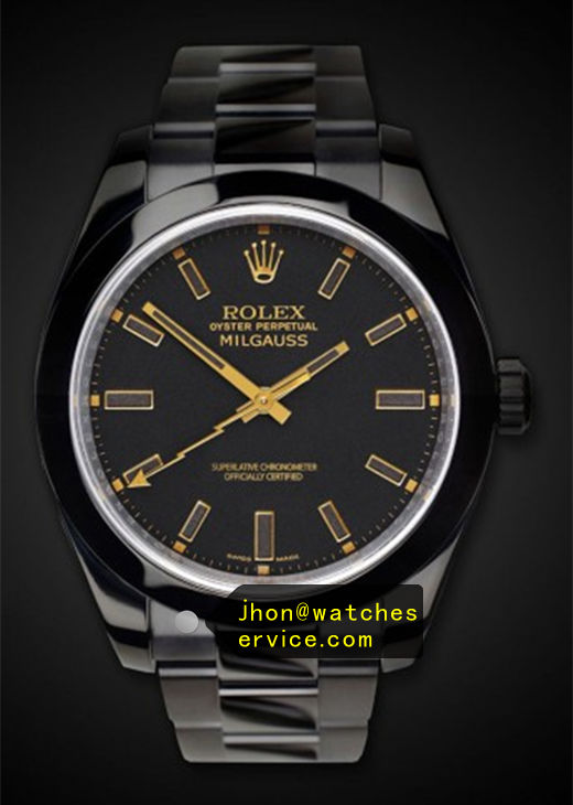 Orange Replica Rolex Milgauss 116400 Black PVD Watch