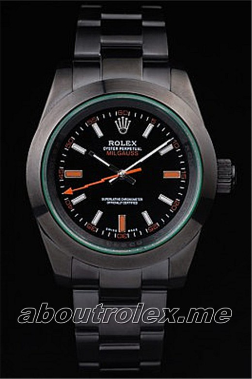 Cheap Rolex Milgauss Replica Pro-Hunter Tinted Green Saphire Black Dial