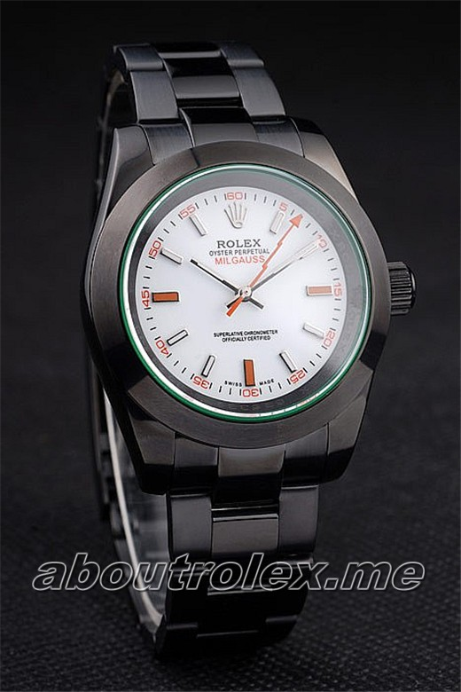 Rolex Milgauss Replica Pro-Hunter Tinted Green Saphire White Dial