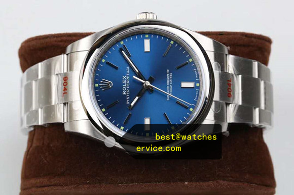 904L Steel Blue Fake Rolex Oyster Perpetual 114300 Watch