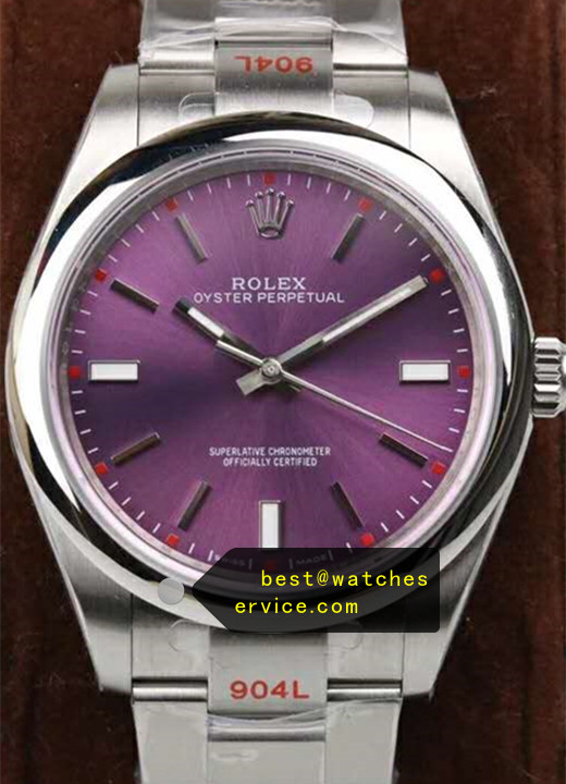 904L Steel Purple Fake Rolex Oyster Perpetual 114300 Watch
