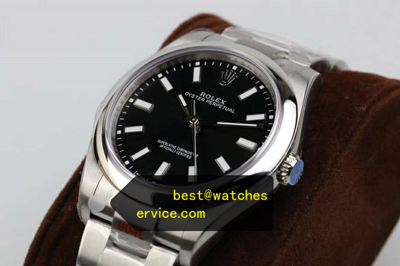 904L Steel Black Fake Rolex Oyster Perpetual 114300 Watch