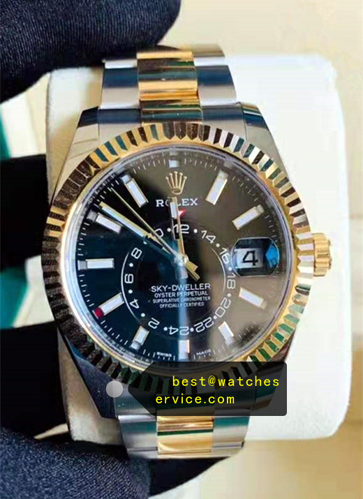 1:1 Gold Steel Fake Rolex Sky Dweller m326933-0002 Watch
