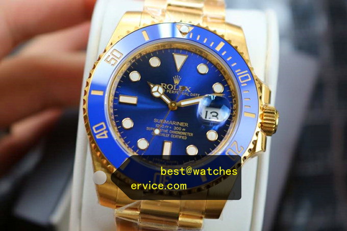 2019 Fake Rolex Submariner m116618lb 18k-Gold Blue Watch