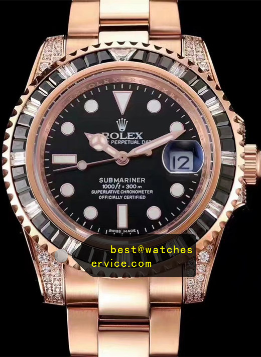 Black Diamonds Fake Rolex Submariner Rose Gold Watch