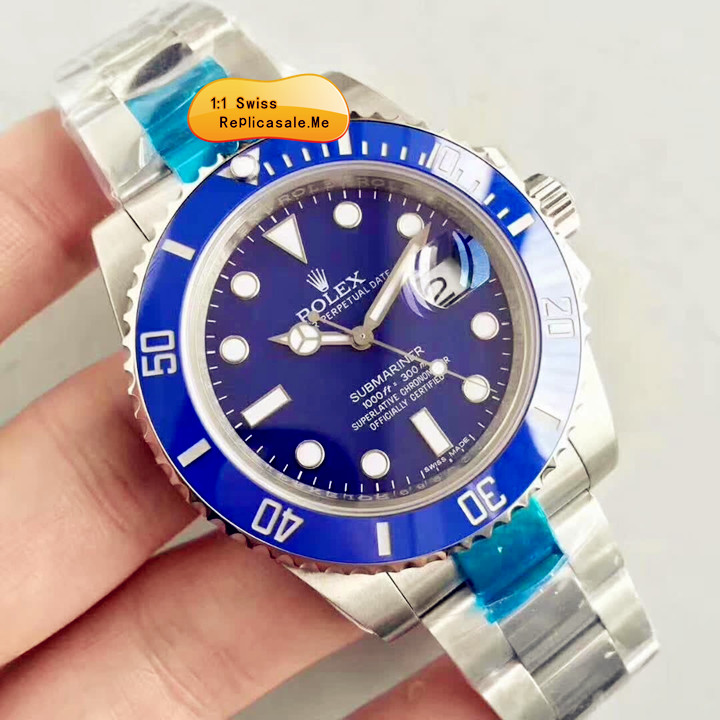 Top Blue Ceramics Rolex Submariner 116619LB 18K Platinum 1085A