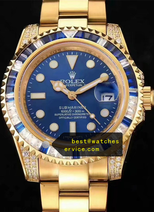 Blue Diamonds Fake Rolex Submariner Gold Watch
