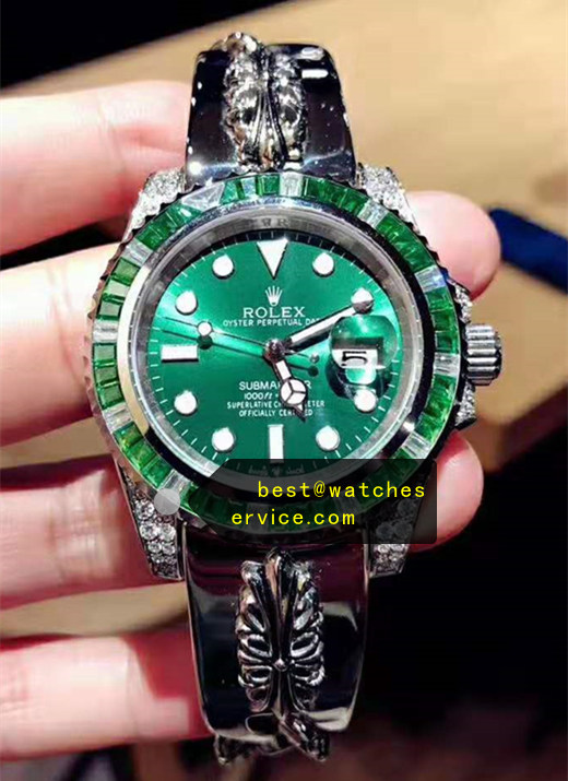 Crowe Strap Diamond Bezel Green Fake Submariner Watch