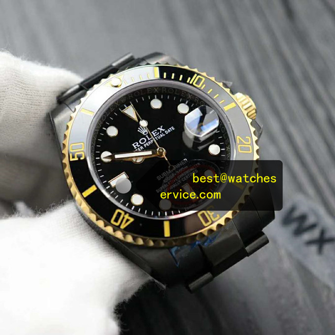 Fake Rolex Submariner All Black Steel With Gold Watch