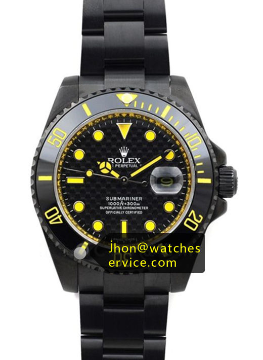 Fake Rolex Submariner Yellow Text PVD Watch