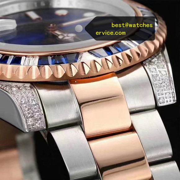 Diamonds Fake Rolex Submariner Steel Inlaid Rose Gold Watch